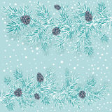 Stylized branches of spruce with cones. Decorative stylized branches of spruce with cones on a blue background with snow Royalty Free Stock Images