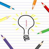 Stylized bulb sketching on a white sheet with colored pencils. Stylized bulb sketching and colored pencils on a white sheet stock illustration