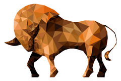 Stylized bull isolated on a white background. Made in low poly triangular style. Royalty Free Stock Image