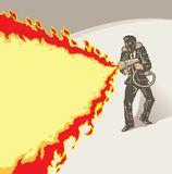 Stylized businessman with flame thrower Stock Images
