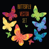 Stylized butterfly. Polygonal texture, colorful vector set stock illustration
