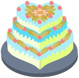 Stylized cake with floral decoration isolated. Image representing a stylized cake usable as greeting card, label or other project about cakes Royalty Free Stock Images