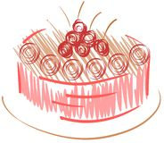 Stylized cake with cherries Royalty Free Stock Photography