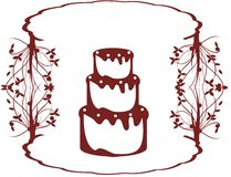 Stylized cake with floral fantasy isolated. Image representing a stylized cake usable as logo, label or other project about cakes Royalty Free Stock Photography