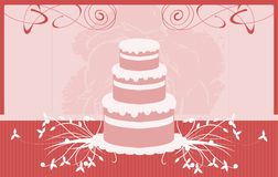 Cake on abstract fantasy background in red tones. Image representing a stylized cake usable as logo, label or other project about cakes Stock Photo