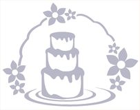 Cake with floral decoration isolated. Image representing a stylized cake usable as logo, label or other project about cakes Stock Photography