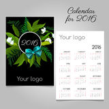 Stylized calendar 2016 with floral and bow. Space for logo Royalty Free Stock Photo