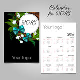 Stylized calendar 2016 with floral, space for logo. Black stylized calendar 2016 with floral wreath and bow, space for your logo Stock Images