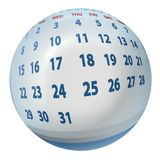 Stylized calendar mapped on ball. Stylized abstract calendar mapped on ball Royalty Free Stock Photos