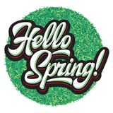 Stylized calligraphic inscription Hello Spring on the background stock images