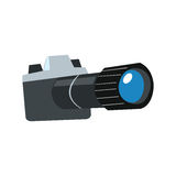 Stylized camera with lens. Stylized camera with the lens on a white background sign icon symbol stock illustration