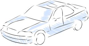 Stylized car in blue and black isolated. A sketch of a modern car that can be used as logo or part of a flyer Stock Photos