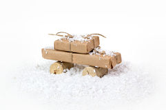 Stylized car and gift box as a Christmas gift Stock Image