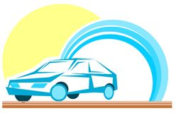 Stylized car with sun and clouds isolated Royalty Free Stock Images