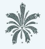 Stylized Cartoon Black Fireworks with Stars Bursting vector icon. Vector illustration of Stylized Cartoon Black Fireworks with Stars Bursting on white background Stock Image