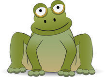 Stylized cartoon frog sitting with a smile. Friendly plump amphibian in sitting position Royalty Free Stock Photos