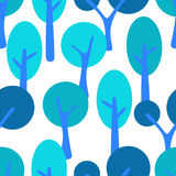 Stylized cartoon tree forest seamless pattern. Royalty Free Stock Photography