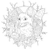 Stylized cartoon wild fox animal and violet flowers. Freehand sketch for adult anti stress coloring book page.  Royalty Free Stock Photo