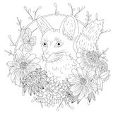 Stylized cartoon wild fox animal and violet flowers. Freehand sketch for adult anti stress coloring book page.  Stock Image
