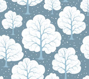 Stylized Cartoon Winter Snow Trees Forest Seamless Pattern Texture Stock Photography