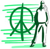 Stylized casual woman with peace symbol Royalty Free Stock Image