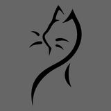 Stylized cat icon on gray background Royalty Free Stock Photography