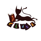 Stylized cat reading a book Royalty Free Stock Photos