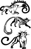 Stylized Cats - elegance and graceful cats. Stock Photo