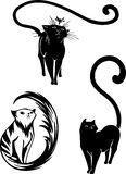 Stylized Cats - elegance and graceful cats. Royalty Free Stock Photos