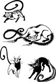 Stylized Cats - elegance and graceful cats. Royalty Free Stock Photo
