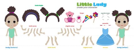 Stylized characters set for animation. Some parts of body. Stylized characters set for animation. Little princess girl. Constructor from parts of the body. Sets Stock Photos