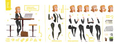 Stylized characters set for animation. Some parts of body for rig stock illustration