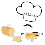 Stylized chef hat and bread. Stylized chef hat with bread and rolling pin Royalty Free Stock Photo