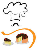 Stylized chef hat and cake. Stylized baker`s hat with a slice of cake Royalty Free Stock Photo