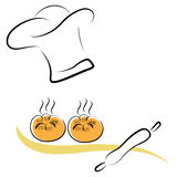 Stylized chef hat and pastries. Stylized chef hat with hot pastries and rolling pin Stock Images