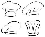 Stylized Chef hat set. Chef hat silhouette set in black white and grey Stock Photos