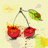 Stylized cherry illustration Royalty Free Stock Photos