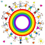 Stylized children around a rainbow Royalty Free Stock Images