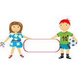 Stylized children holding a banner Stock Photo