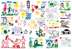 Stylized children's drawings Stock Image