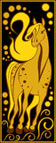 Stylized Chinese horoscope black and gold - horse. Vector image one of the twelve signs of the Chinese horoscope - horse Stock Images