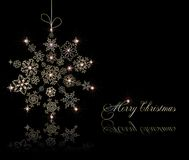 Stylized christmas ball on black card. Vector Stock Photo