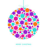 Stylized Christmas ball with bright holiday pattern made of colo Royalty Free Stock Photography