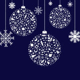 Stylized Christmas Balls. Vector. 3 Stylized Christmas Balls, On Blue Background, Vector Illustration Royalty Free Stock Photo