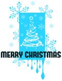 Stylized Christmas greeting card in blue tones Stock Photos