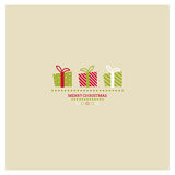 Stylized Christmas and New Year card with holiday vector illustration