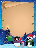Stylized Christmas penguins parchment 2 Stock Photography