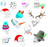 Stylized Christmas skull texture. Skull with antlers, Christmas hat, mustache, a carrot, a hat, a sprig of spruce Stock Images