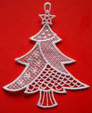 Stylized christmas tree. Red and white Stock Photos