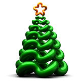 Stylized christmas tree. Abstract shiny christmas tree with star shape on top. Isolated on white. 3D render Stock Photo